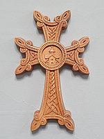 Панно крест резной настенный из дерева Армянский с церковью, светлый, 12 х 19.1 см