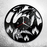 Настенные часы из пластинки интерьерные Ангел и демон, в офис, кухню, прихожую, гараж, комнату, 1104