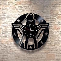 Настенные часы из пластинки Капитан Марвел Captain Marvel, подарок фанатам, любителям 0069