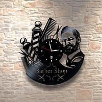 Настенные часы из пластинки, BarberShop барбершоп, подарок барберу, парикмахеру, 0187