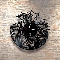 Настенные часы из пластинки, Spiderman Человек-паук, подарок фанатам, любителям, 0312