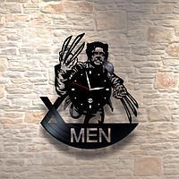 Настенные часы из пластинки, Люди икс X-Men росомаха, подарок фанатам, любителям, 0438