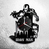 Настенные часы из пластинки iron man Роберт Дауни ,подарок фанатам, любителям, 0838