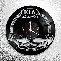 Настенные часы из пластинки KIA КИА, подарок фанатам, любителям, владельцам, 0928