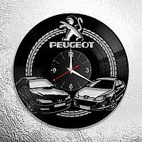 Настенные часы из пластинки Peugeot Пежо, подарок фанатам, любителям, владельцам, 0936