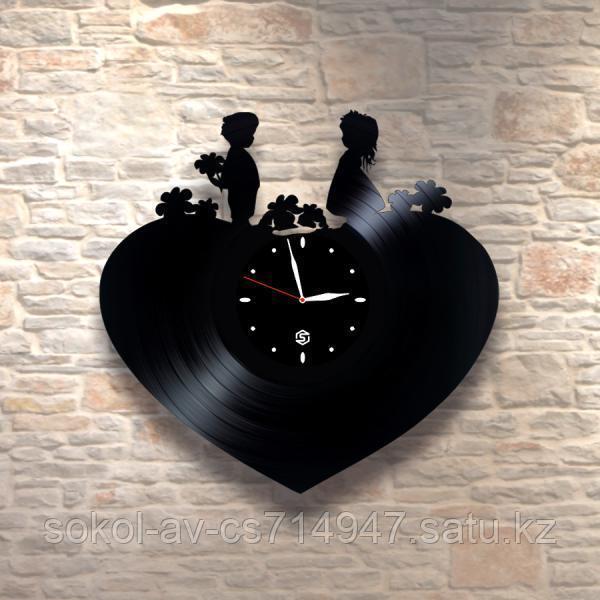 Настенные часы из пластинки Сердце, подарок любимой, любимому, влюбленным, 0124