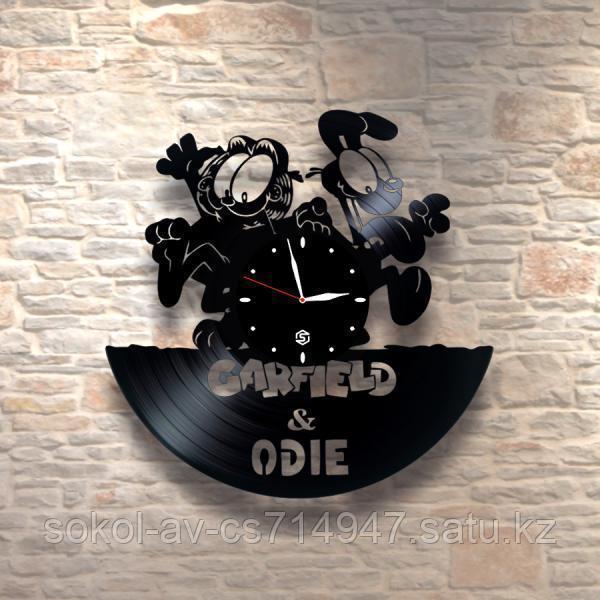 Настенные часы из пластинки garfield & odie Гарфилд и Оди, детям в детскую комнату, 0018