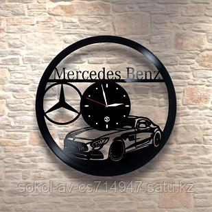 Настенные часы пластинки, Mercedes Benz Мерседес, подарок фантам, любителям, владельцам, 0259