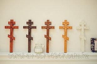 Панно крест резной настенный из дерева Православный ручной, 10.7 x 26.4 см