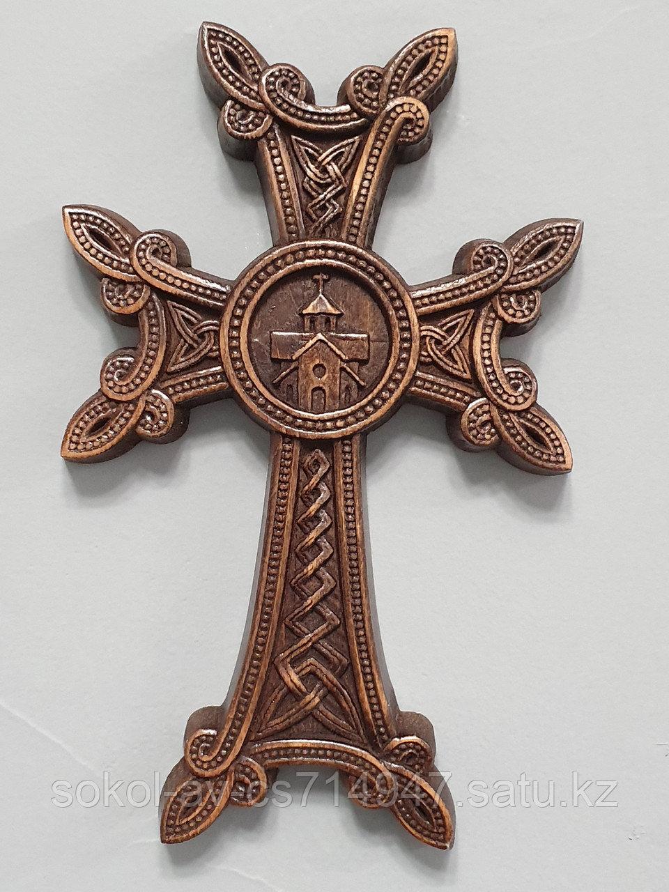 Панно крест резной настенный из дерева  Армянский с церковью, темный, 12 х 19.1 см