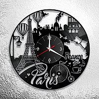 Настенные часы из пластинки интерьерные в французском стиле, в офис, кухню, прихожую, комнату, Париж, 0976
