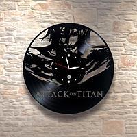 Настенные часы пластинки, Attack on titan Атака на титанов, подарок фанатам, любителям, 0176