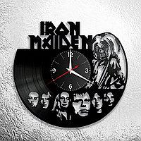 Настенные часы из пластинки, группа Iron Maiden, подарок фанатам, любителям, 0667