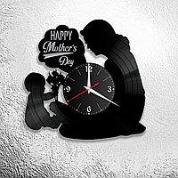 Настенные часы из пластинки Любимой маме, подарок ,украшение (оформление) комнаты к празднику, 1098