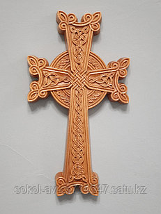 Панно крест резной настенный из дерева Армянский, светлый, 12 х 21.8 см