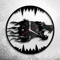 Настенные часы из пластинки интерьерные Волк, в офис, кухню, комнату , прихожую, 1118
