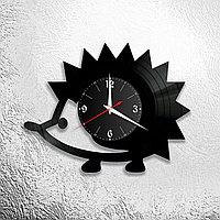 Настенные часы из пластинки интерьерные Ёжик, в офис, кухню, комнату , прихожую, 1119