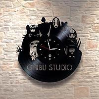 Настенные часы из пластинки, Ghibli studio, подарок детям в детскую комнату, 0227