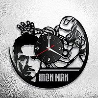 Настенные часы из пластинки iron man Роберт Дауни ,подарок фанатам, любителям, 0839