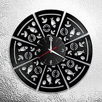 Настенные часы из пластинки интерьерные Пицца, на кухню, пиццерия, подарок фанатам, любителям, 1038