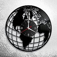 Настенные часы из пластинки Земной шар / глобус, подарок географу, учителю, преподавателю географии, 1166