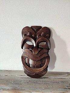 Панно маска настенная резная из дерева, декоративная, 26 х 15 х 3 см