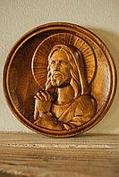 Икона резная из дерева Молитва Спасителя, диаметр 14 см
