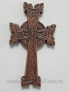 Панно крест резной настенный из дерева Армянский, темный, 12 х 21.8 см