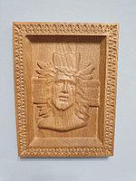 Икона резная из дерева ММТ Organic Иисус в терновом венке, дуб, 23 х 17 см
