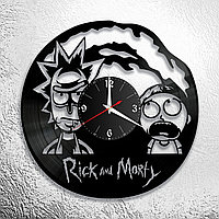 Настенные часы из пластинки Рик и Морти Rick and Morty, подарок фанатам, любителям, 0862