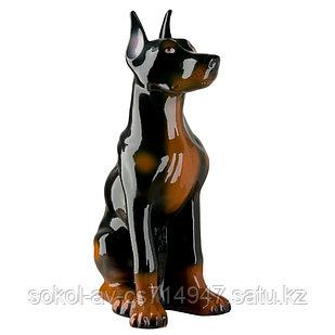 Садовая фигура Собака доберман, декор, фигурка, скульптура для сада, керамическая, ландшафтная, 43 см