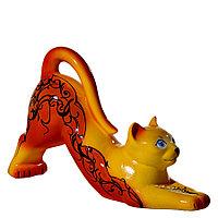 Копилка / статуэтка керамическая кошка / кот, высота 26 см, желтый