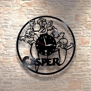 Настенные часы из пластинки, Casper Каспер, подарок детям в детскую комнату, 0205