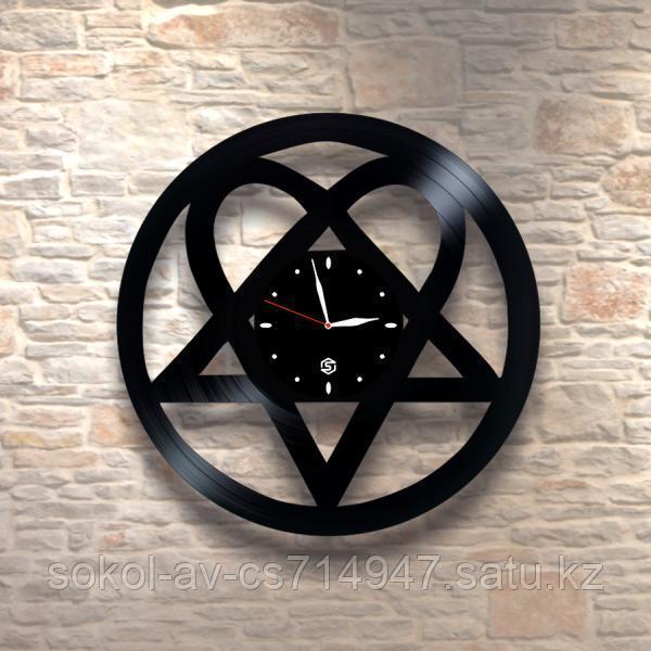 """Настенные часы пластинки """"рок-группа HIM"""", хартаграмма, подарок фанатам, любителям, 0010"""