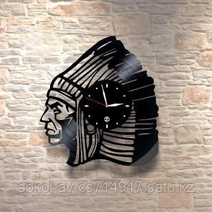 Настенные часы из пластинки Индеец, лофт, в офис, кухню, прихожую, гараж, комнату, 0066