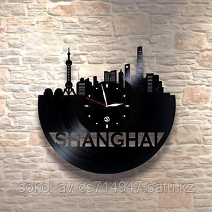 Настенные часы пластинки, Шанхай Shanghai, подарок учителю, преподавателю китайского, 0485