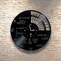 Настенные часы из пластинки Матфиз, подарок учителю, преподавателю математики, физики 0088