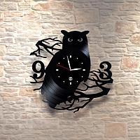 Настенные часы из пластинки, Сова, лофт, в офис, кухню, прихожую, гараж, комнату, 0464