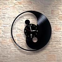 Настенные часы из пластинки Инь и Янь, лофт, винтаж, ретро, в офис, кухню, комнату, 0067