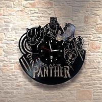 Настенные часы из пластинки, фильм Black Panther Черная Пантера,подарок фанатам, любителям, 0472