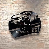 Настенные часы из пластинки, Nissan Ниссан, подарок фантам, любителям, владельцам, 0279