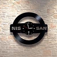Настенные часы из пластинки, Nissan Ниссан, подарок фантам, любителям, владельцам, 0277