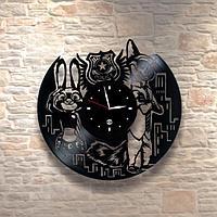 Настенные часы из пластинки, Зверополис, подарок детям в детскую комнату, 0388