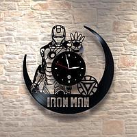 Настенные часы из пластинки, Iron Man железный человек, подарок фанатам, любителям, 0239