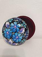 Шкатулка с цветами Петриковская роспись, национальный подарок женщине, девушке, маме, бабушке, 14 см, 002