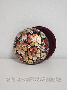 Шкатулка с цветами Петриковская роспись, подарок женщине, девушке, маме, бабушке, 14 см, 003