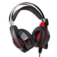 Наушники с микрофоном для геймеров Hoco Cool Tour W102 с LED подсветкой и шумоподавлением (Красный)