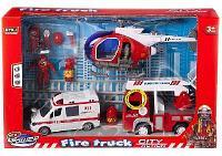 """Набор игровой """"Служба спасения"""" (пожарная машина, скорая помощь, вертолет, аксессуары) свет, звук"""