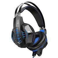 Наушники с микрофоном для геймеров Hoco Cool Tour W102 с LED подсветкой и шумоподавлением (Синий)
