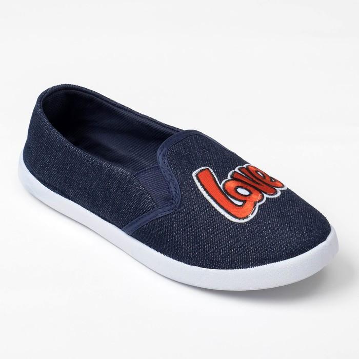 Слипоны KAFTAN женские, цвет синий/джинс, размер 37